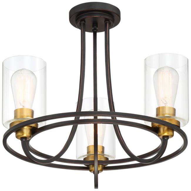 "Possini Euro Demy 20"" Wide 3-Light Bronze-Gold Ceiling Light"