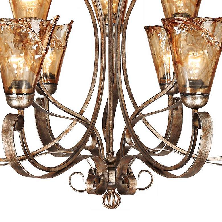 "Amber Scroll 35 1/2"" Wide Art Glass Chandelier more views"
