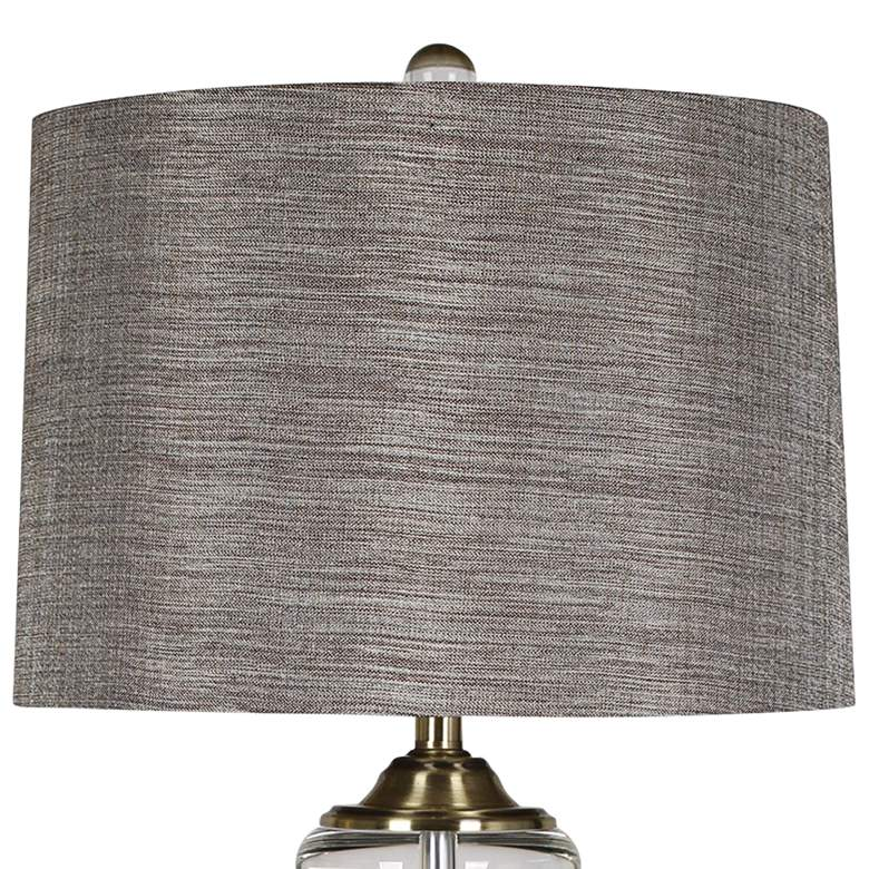 Tinley Brass Table Lamp with Gray Fabric Shade more views