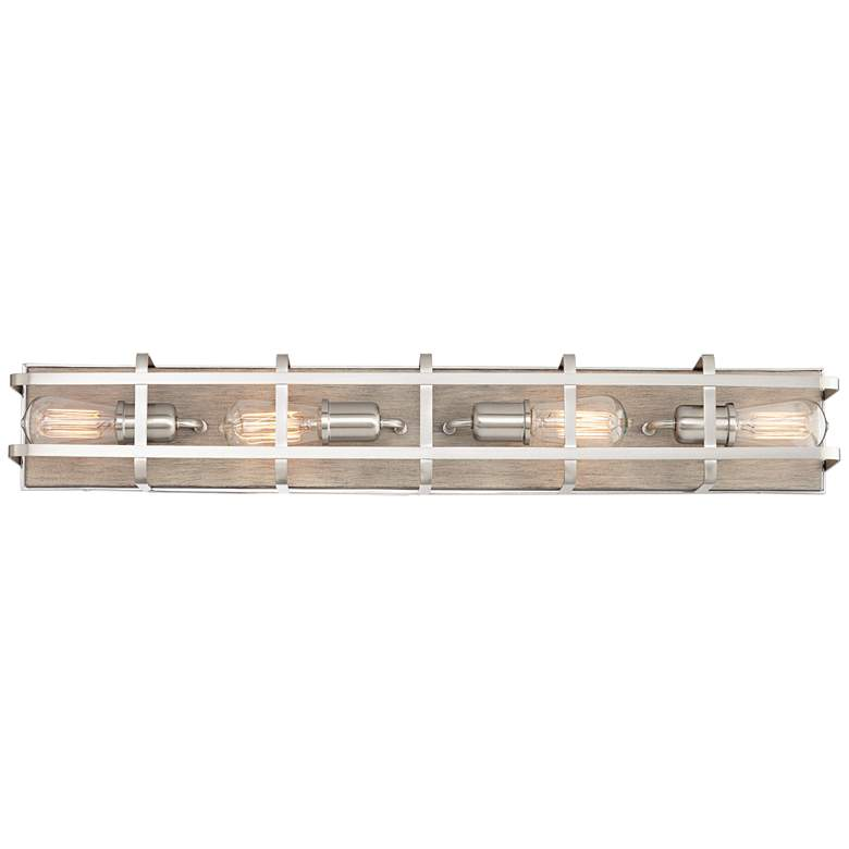 "Possini Euro Esme 33 1/4""W Brushed Nickel 4-Light Bath Light more views"