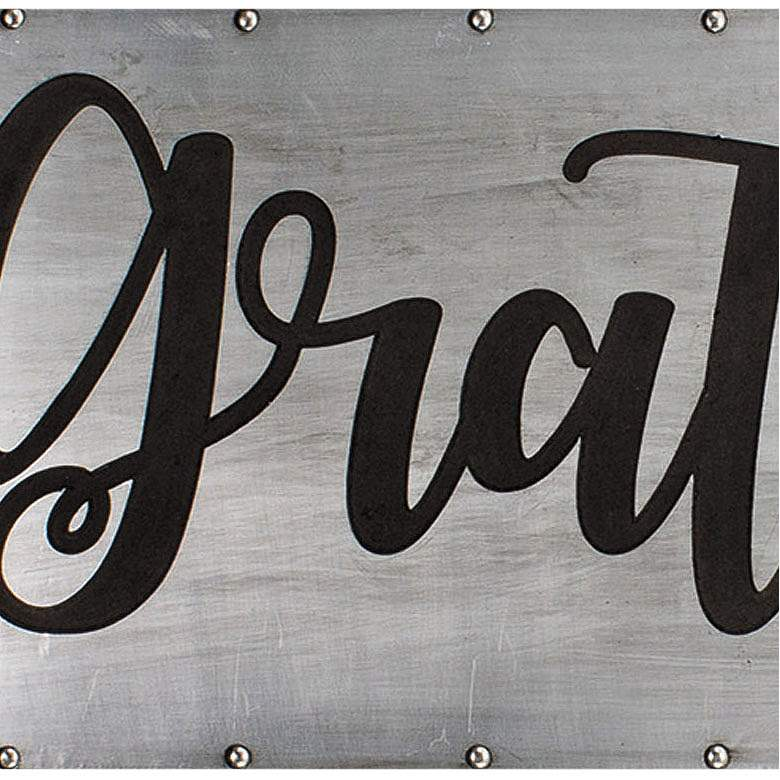 "Grateful 36"" Wide Black and Gray Metal Wall Art more views"