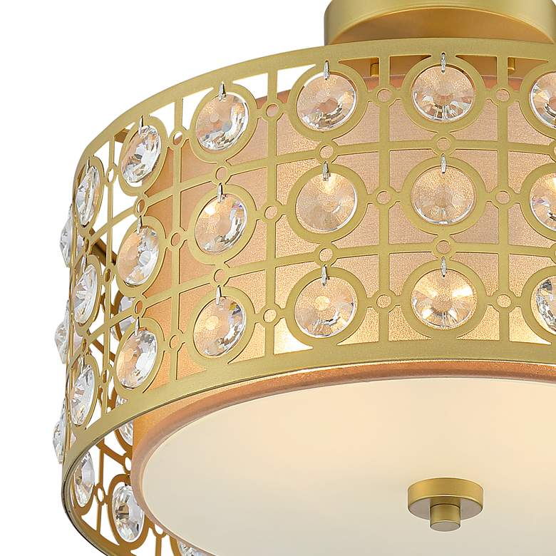 "Saira Crystal 15 1/2"" Wide Warm Brass Ceiling Light more views"