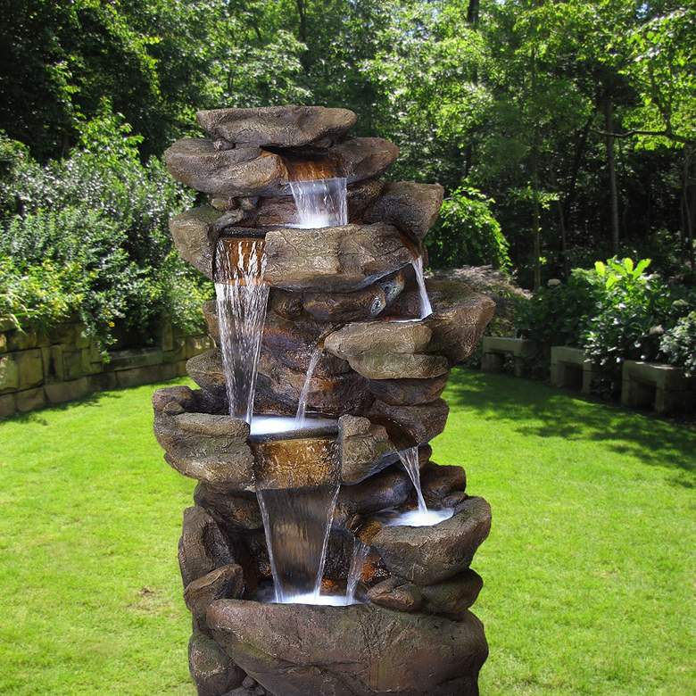 "Rainforest Rock Waterfall 51""H 6-Tier Outdoor LED Fountain more views"