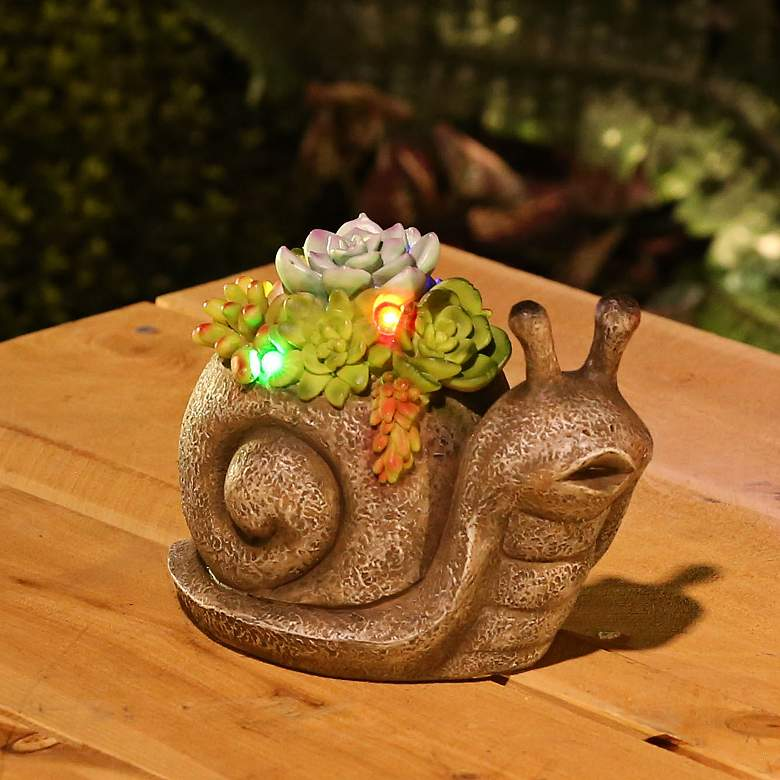 "Succulents Snail 7"" Wide Solar LED Outdoor Garden Statue more views"