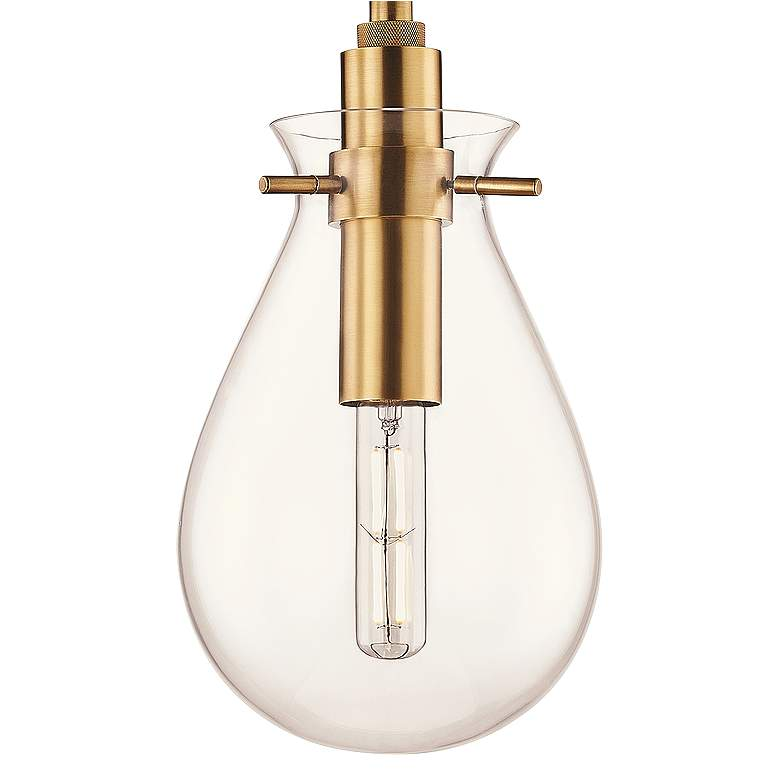 "Ivy 7 1/2"" Wide Aged Brass LED Mini Pendant with Clear Glass more views"