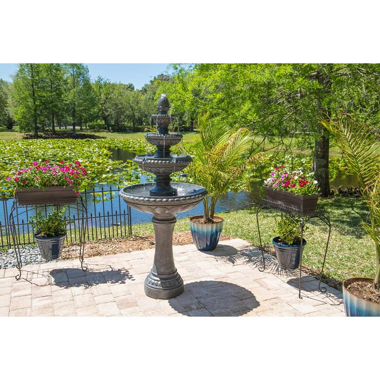 "Tucson 65"" High Zinc 4-Tier Outdoor LED Floor Fountain more views"