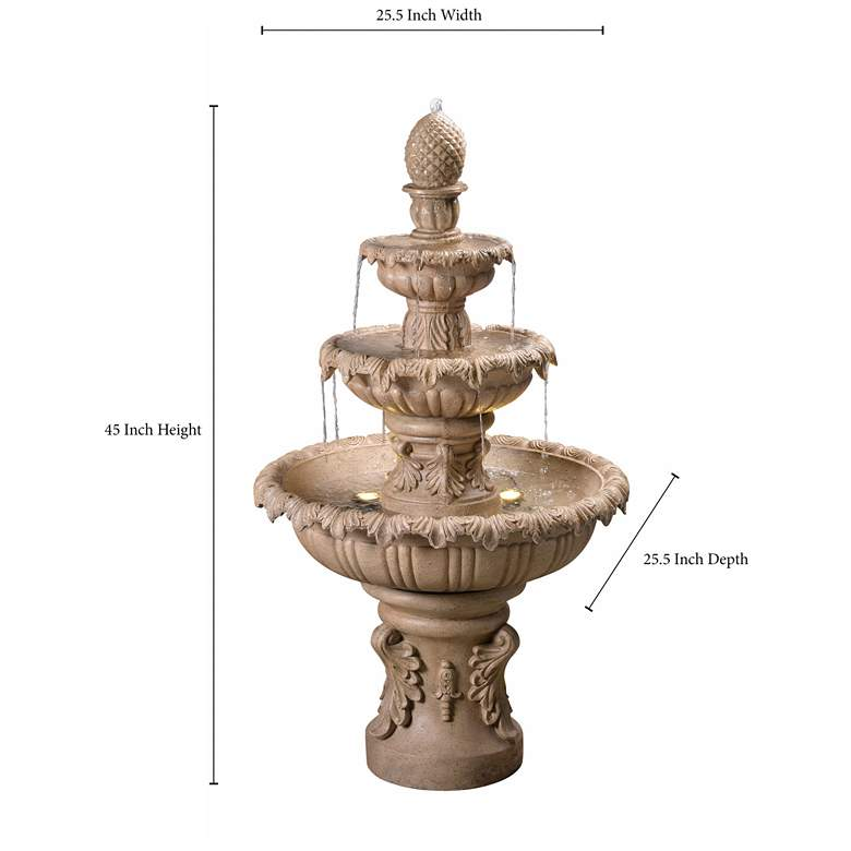 "Ibiza 45"" High 3-Tiered Sandstone Garden Fountain with Light more views"