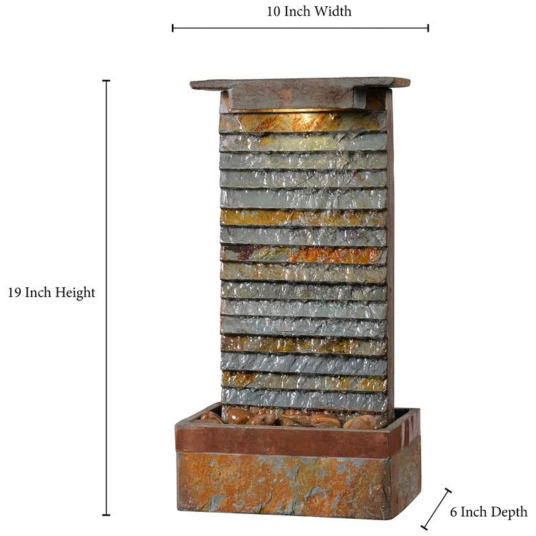 "Stave 19"" High Slate and Copper Outdoor LED Table Fountain more views"
