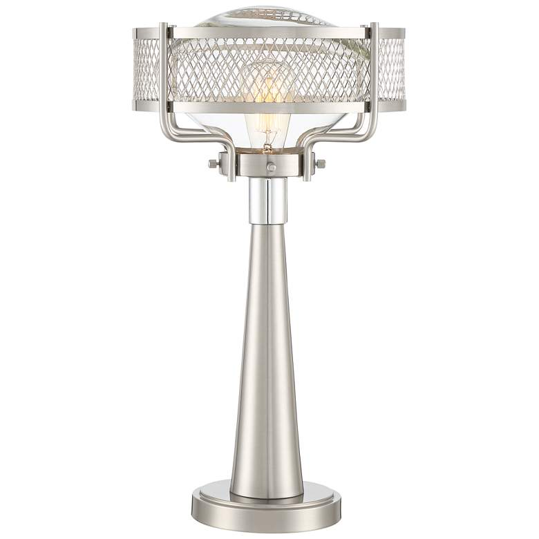 Travis Brushed Nickel Modern Table Lamp with USB Workstation Base more views