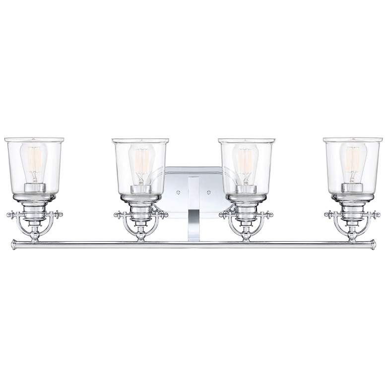 "Quoizel Grant 32"" Wide Polished Chrome 4-Light Bath Light more views"