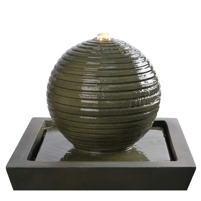 "Bubble 39 1/2""H Moss Stone Outdoor LED Solar Floor Fountain more views"