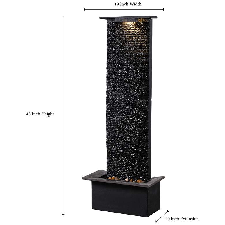 "Alluvium 48""H Black Slate Indoor/Outdoor LED Floor Fountain more views"