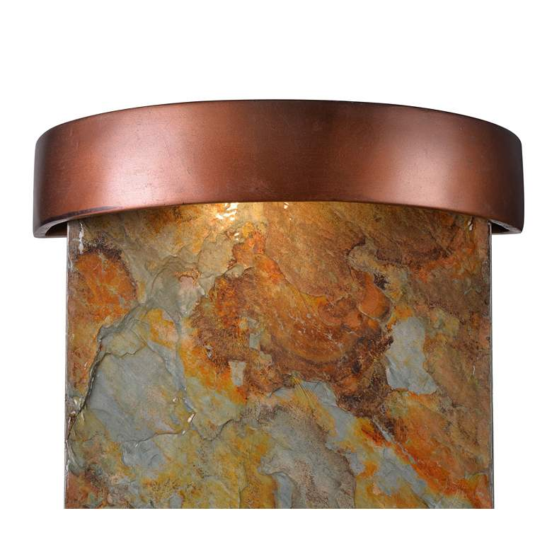 "Riverbed 25"" High Slate and Copper Outdoor LED Wall Fountain more views"