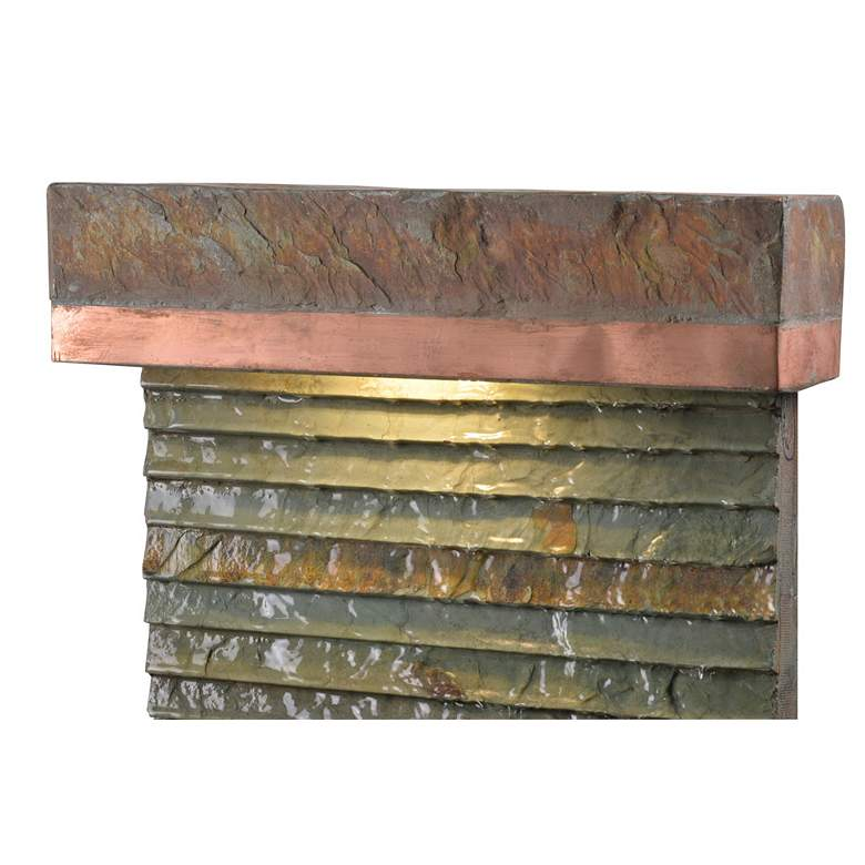 "Stave 48"" High Slate and Copper Outdoor LED Floor Fountain more views"