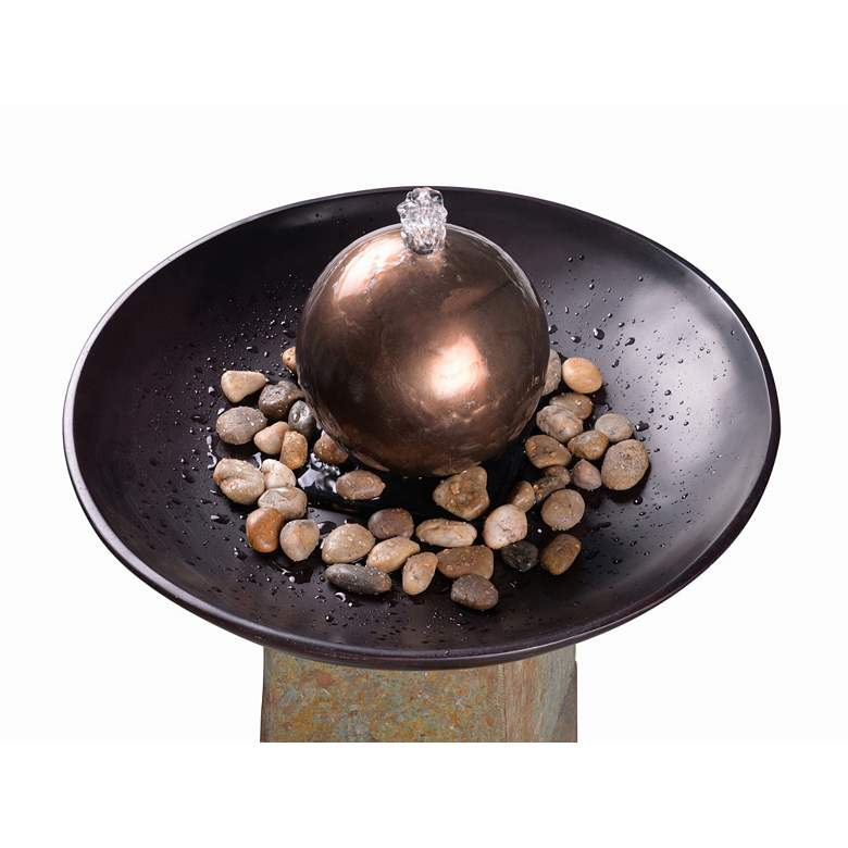 "Orb 35 1/2"" High Slate and Copper Outdoor Floor Fountain more views"
