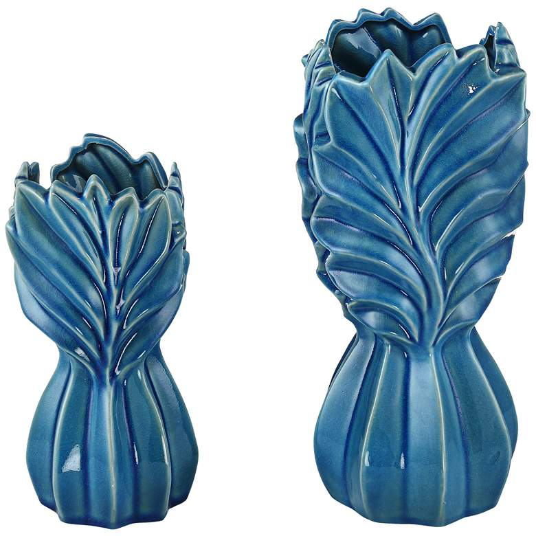 Light Blue Leaf Ceramic Jars Set of 2 more views