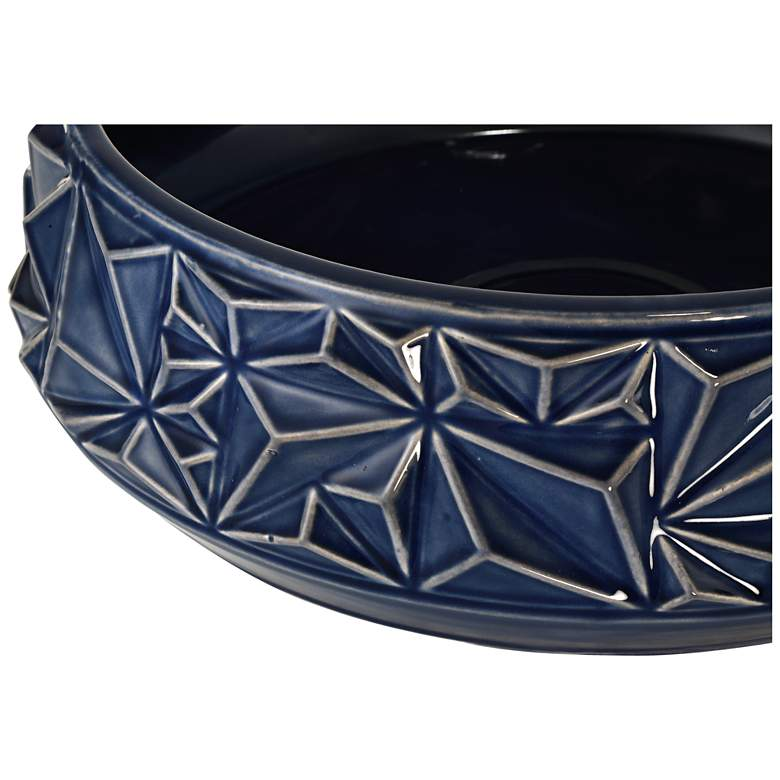 "Telus 12 1/2"" Wide Dark Blue Ceramic Bowl more views"