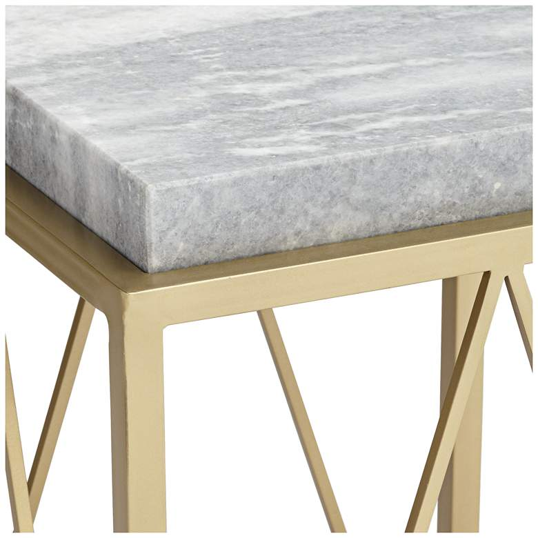 "Julia 15 1/2"" Wide Gold and Marble Accent Table more views"