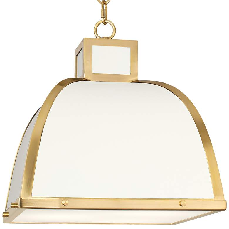 "Robert Abbey Ranger 17 1/2""W White and Brass Pendant Light more views"