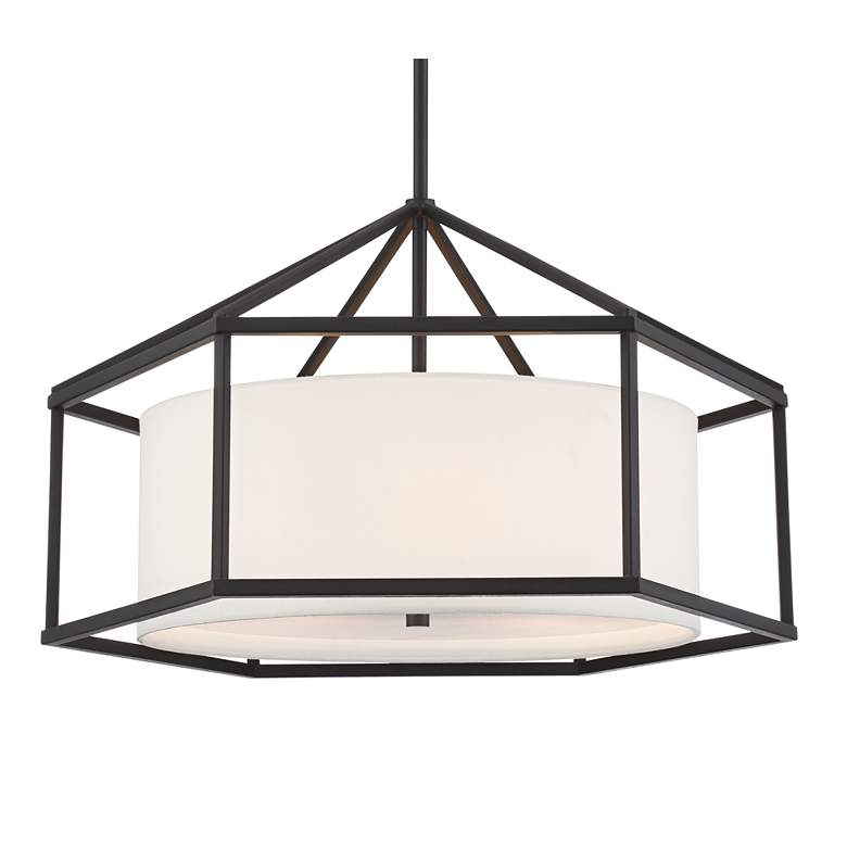 "Atlantic 24"" Wide 3-Light Black Hexagon Pendant Light more views"