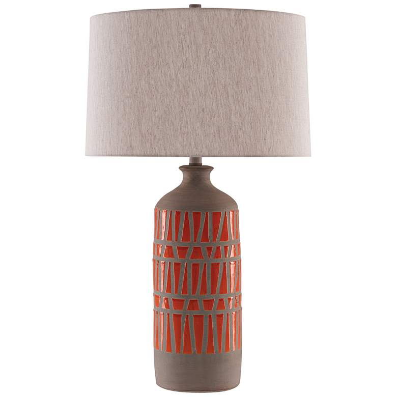 Currey and Company Cueva Orange and Natural Gray Table Lamp more views