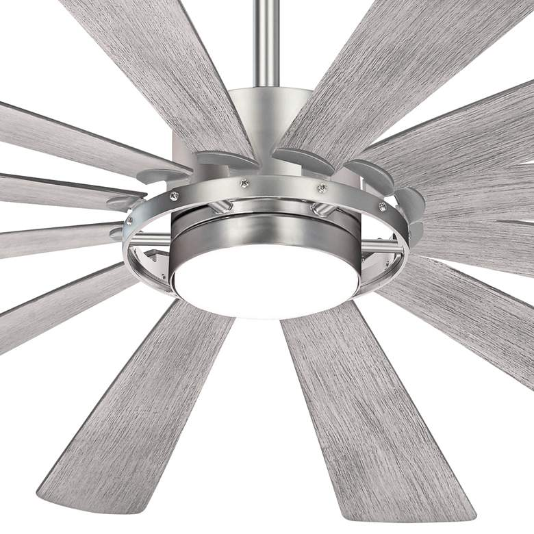"65"" Minka Aire Windmolen Brushed Steel Smart Fan LED Wet Ceiling Fan more views"