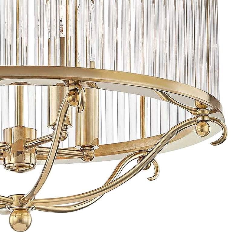 "Glass No.1 19"" Wide Aged Brass Crystal Rods Ceiling Light more views"