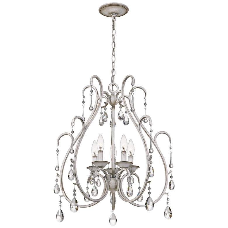 "Quoizel Blanca 22 3/4"" Wide Antique White 5-Light Chandelier more views"