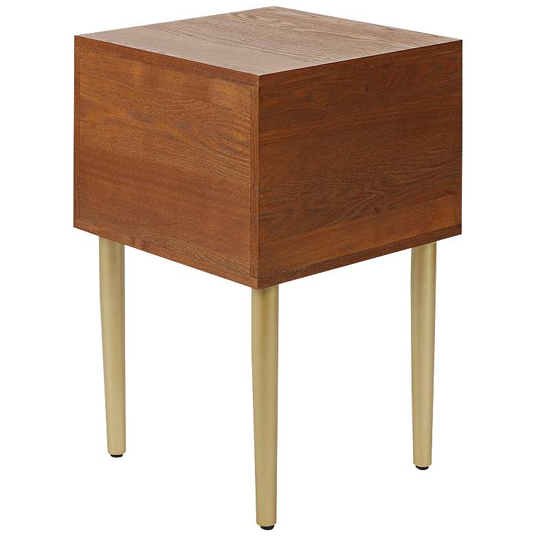 "Hepburn 15 3/4"" Wide Walnut 2-Drawer Modern Side Table more views"