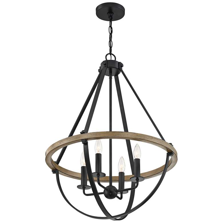 "Quoizel Bartlett 22"" Wide Earth Black 4-Light Pendant Light more views"