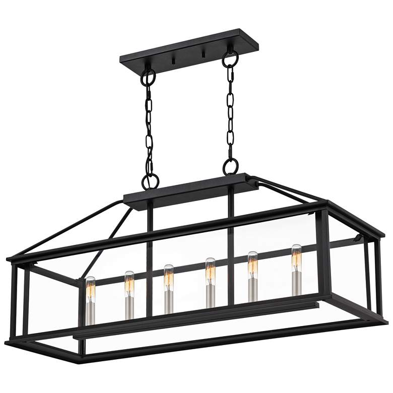 "Citadel 36"" Wide Earth Black Kitchen Island Light Chandelier more views"