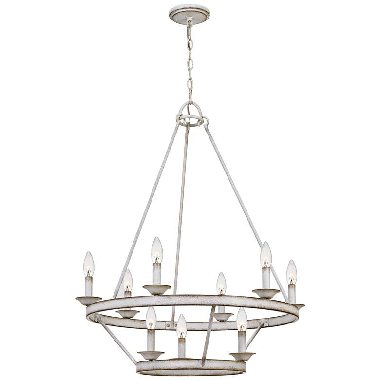 "Quoizel Corral 28"" Wide Antique White 9-Light Chandelier more views"