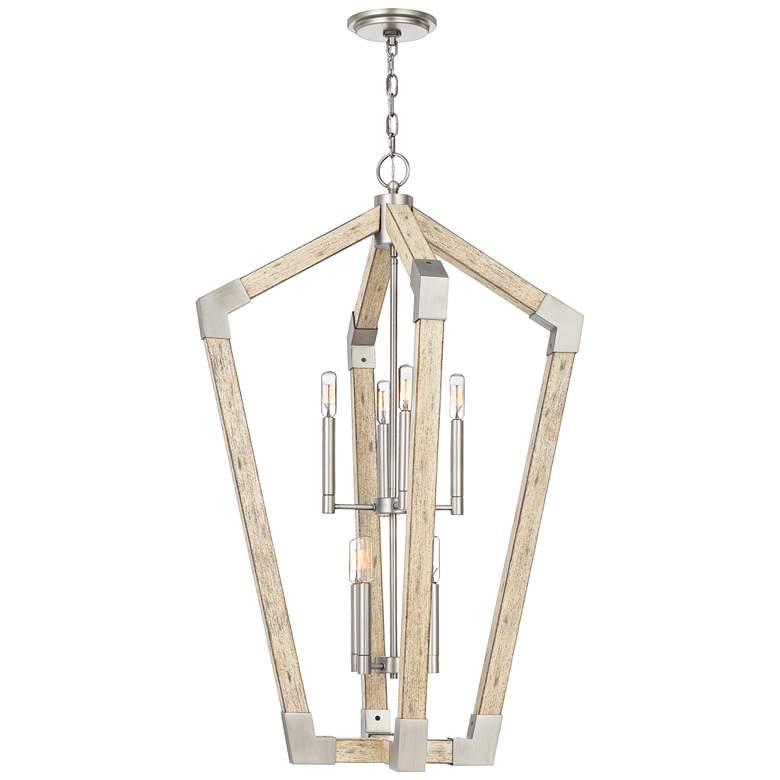 "Quoizel Fable 25 1/2"" Wide Wood Cage 8-Light Foyer Pendant more views"