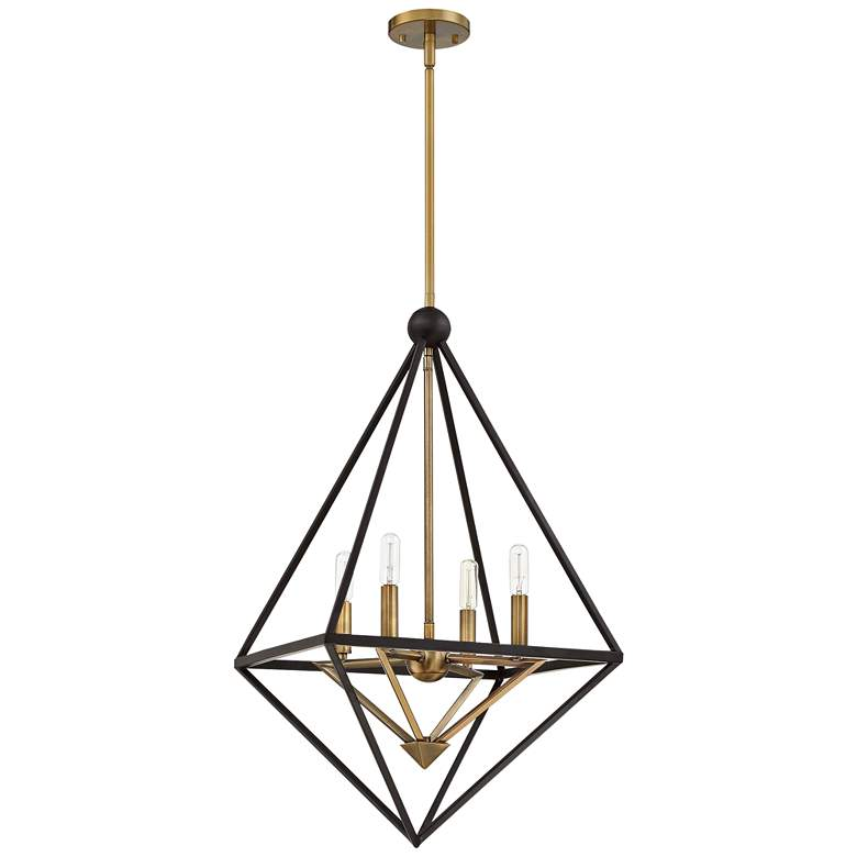 "Louvre 22 1/2"" Wide Bronze and Brass 4-Light Foyer Pendant more views"