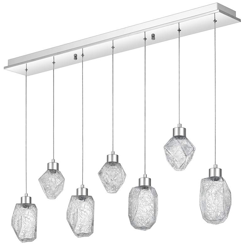 "Hailstone 41 3/4""W Polished Chrome LED Multi Light Pendant more views"