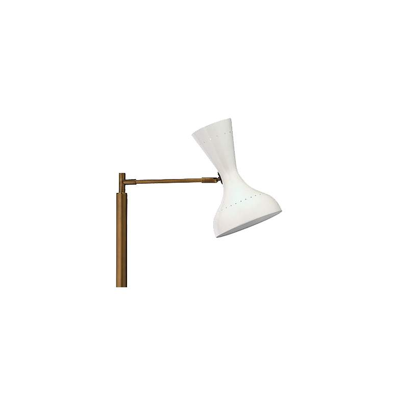 Pisa White Lacquer and Brass 2-Directional Floor Lamp more views