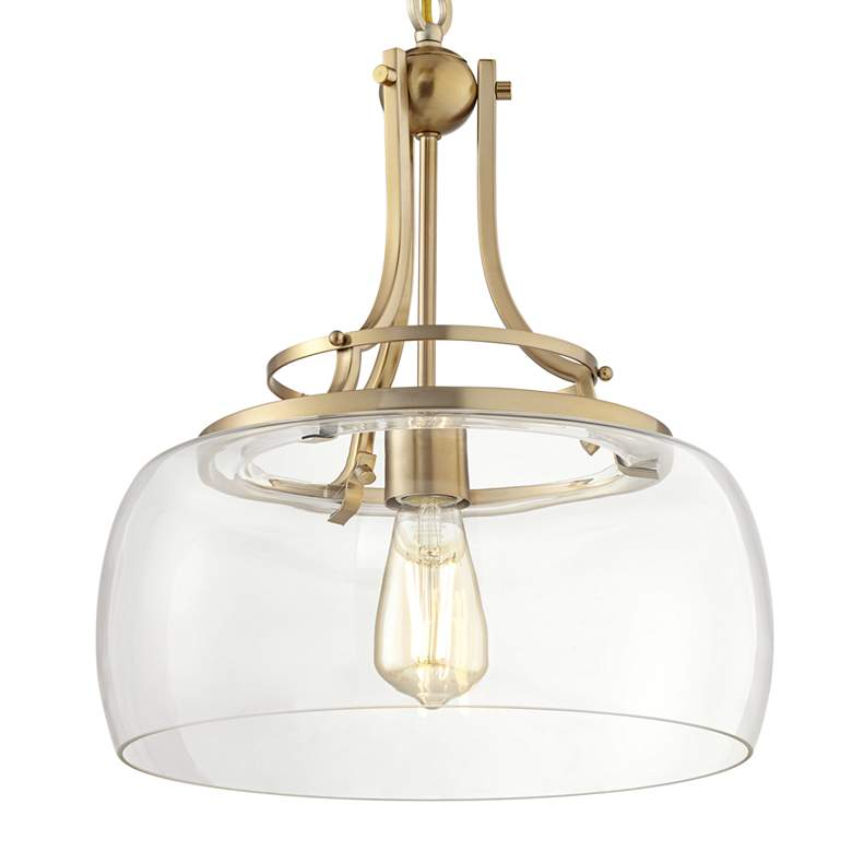 "Charleston 13 1/2"" Wide Brass LED Pendant Light more views"