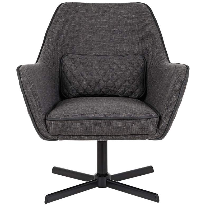 Diana Charcoal Fabric and Black Metal Swivel Lounge Chair more views