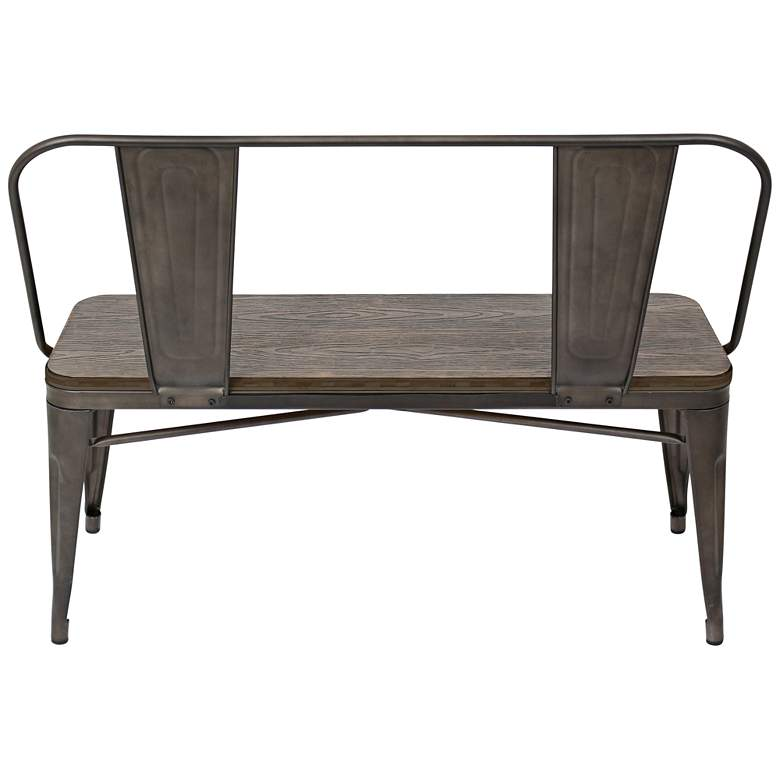 Oregon Antique Metal and Espresso Wood Grain Bench more views
