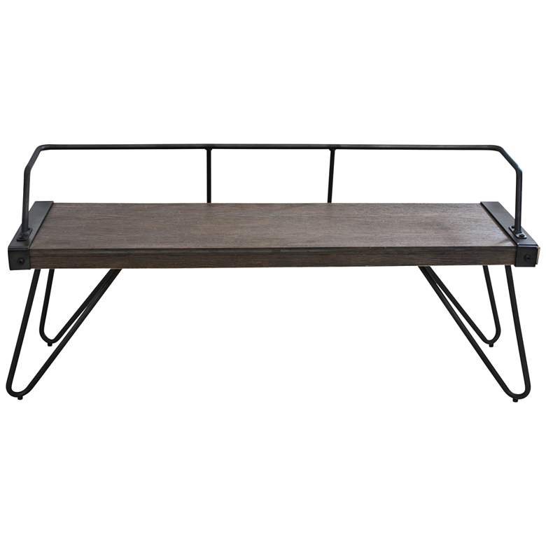 Stefani Antique Metal and Walnut Wood Open Back Bench more views
