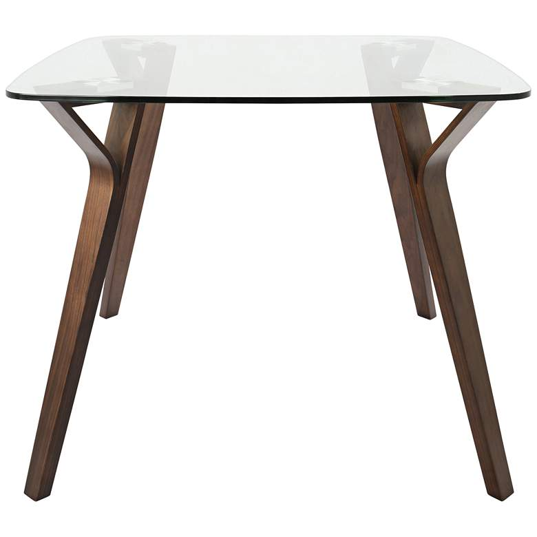 "Folia 38 1/2"" Wide Clear Glass and Walnut Wood Dining Table more views"