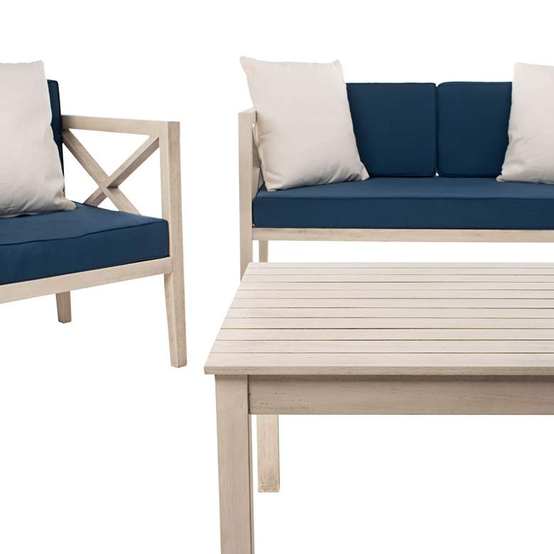 Safavieh Nunzio White Wood 4-Piece Outdoor Seating Set more views