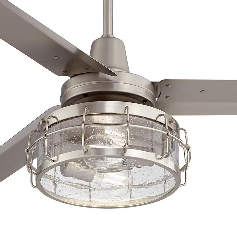 "60"" Turbina AC Brushed Nickel Seedy Glass LED Ceiling Fan more views"