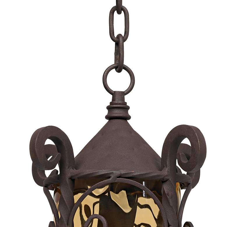 "Casa Seville 15"" High Walnut Scroll Outdoor Hanging Light more views"