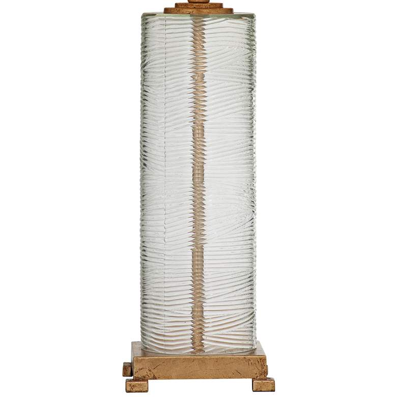 Maroa Clear Ribbed Glass and Gold Leaf Column LED Table Lamp more views