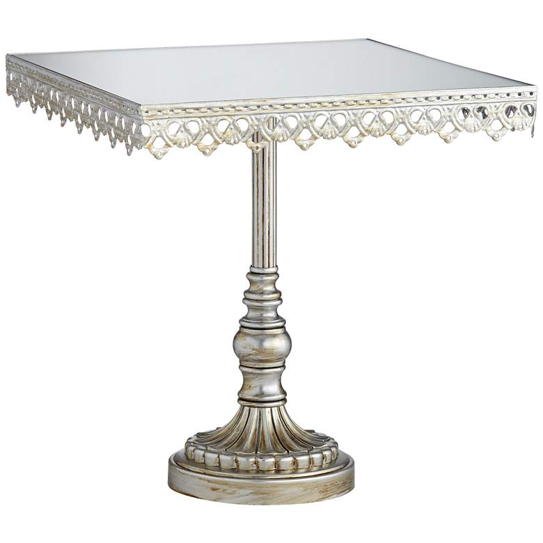 "Elisa Antique Silver Mirror-Top 8"" Square Cake Stand more views"