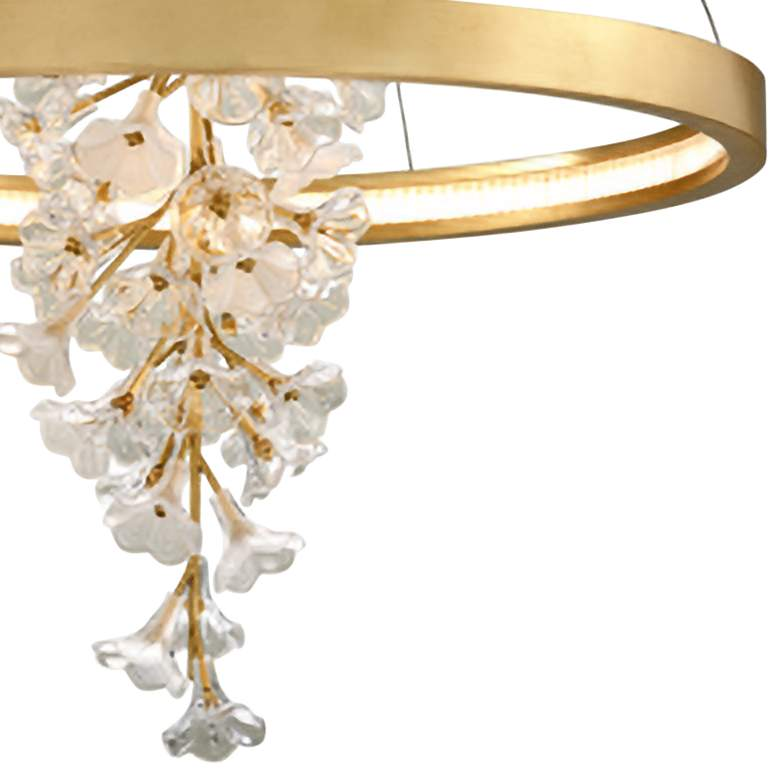 "Corbett Jasmine 36"" Wide Gold Leaf LED Floral Pendant Light more views"