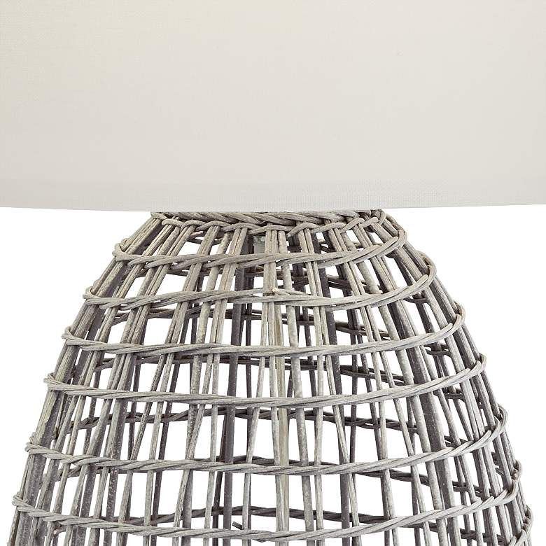 Oahu Cool Gray Rattan Basket Table Lamp more views