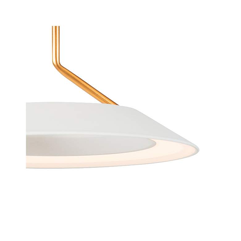 "Royyo 44""W Matte White and Gold 5-Light Linear Pendant more views"