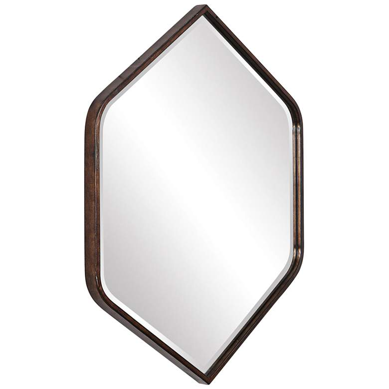 "Uttermost Magda Bronze 30 1/4"" x 36"" Hexagon Wall Mirror more views"